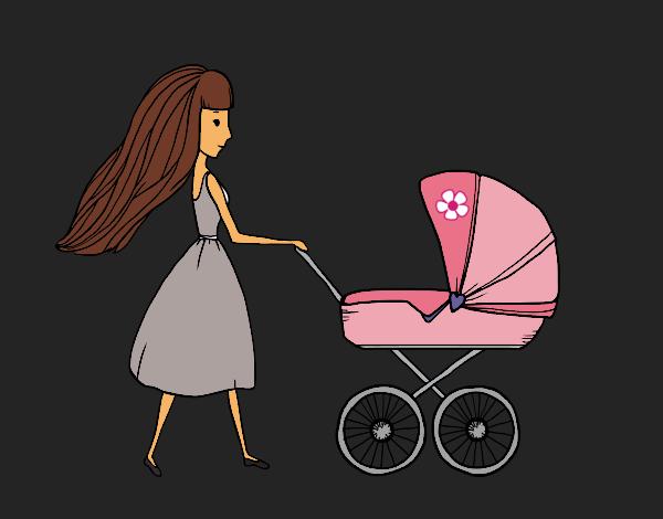 Coloriage  Maman avec poussette colorié par KAKE2