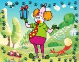 Coloriage Clown avec cadeau colorié par raphael