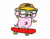 Petit cochon graffiti sur la planche à roulette