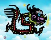 Coloriage Signe du dragon colorié par raphael