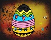 Coloriage  Oeuf de Pâques décoration colorié par raphael