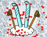 Skis et bâtons de ski