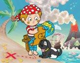 Coloriage Garçon pirate avec son chien colorié par JojoW