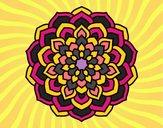 Coloriage Mandala pétales de fleur colorié par MARIN
