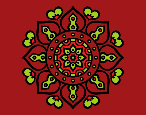 Coloriage Mandala coeurs arabes colorié par mosaique