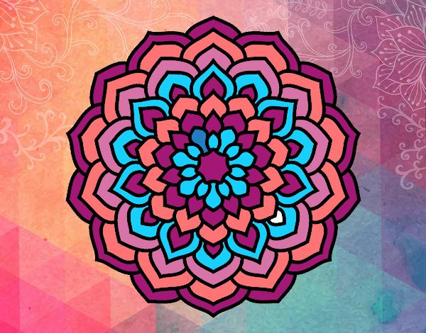 Coloriage Mandala pétales de fleur colorié par mosaique
