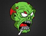 Coloriage Tête de zombi colorié par DEATH