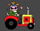 Fermier sur son tracteur
