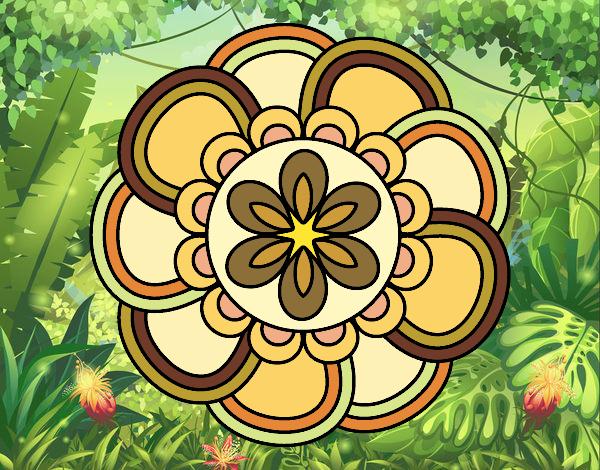 Coloriage Mandala de pétales colorié par atchicanon