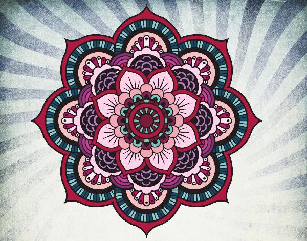 Coloriage Mandala fleur oriental colorié par atchicanon