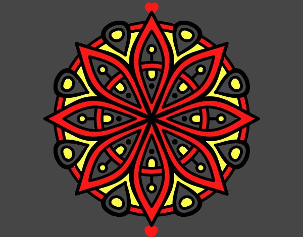 Coloriage Mandala pour la concentración colorié par mosaique