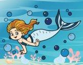 Coloriage Sirène de mer colorié par atchicanon