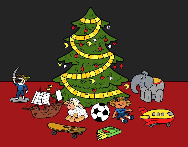 Coloriage Arbre de Noël avec jouets colorié par KAKE2