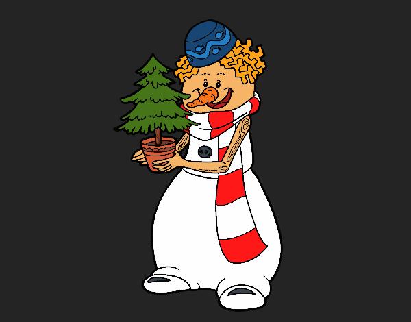 Coloriage Bonhomme de neige avec arbre de Noël colorié par KAKE2