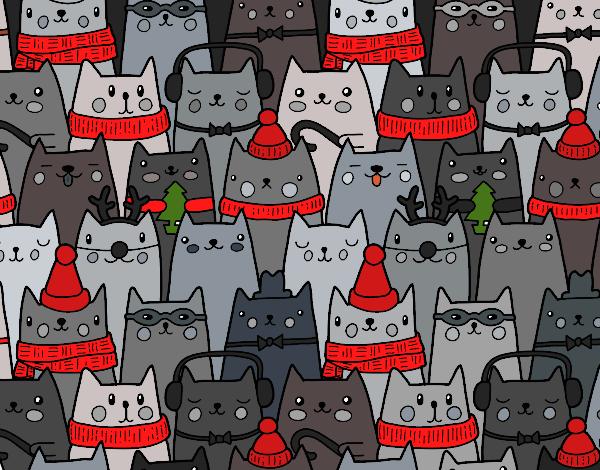Coloriage Chats de Noël colorié par KAKE2
