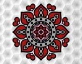 Coloriage Mandala coeurs arabes colorié par saradauphi