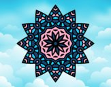 Coloriage Mandala étoile florale colorié par saradauphi
