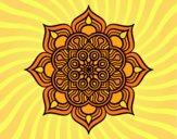 Coloriage Mandala fleur de feu colorié par saradauphi