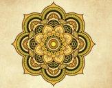 Coloriage Mandala fleur oriental colorié par saradauphi
