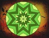 Coloriage Mandala mosaïque étoile colorié par saradauphi