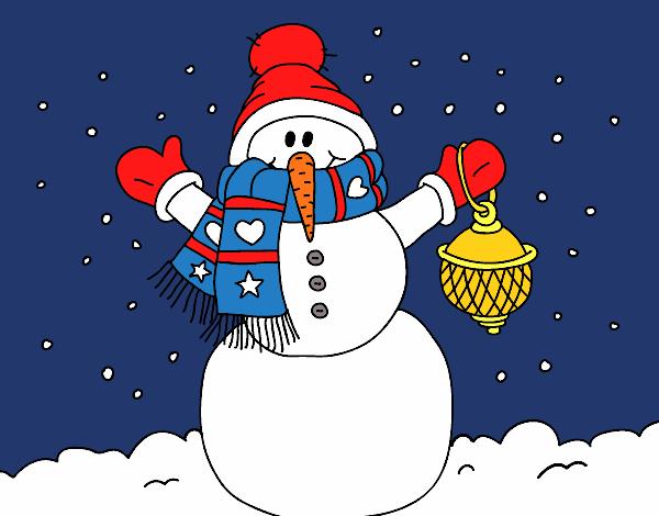 Coloriage Un bonhomme de neige de neige de Noël colorié par KAKE2