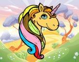 Coloriage Une licorne colorié par Ninie