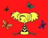 Fille avec des papillons