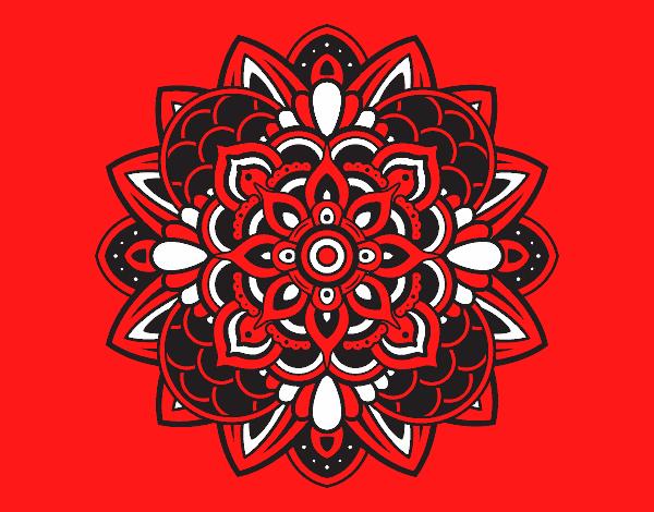 Coloriage Mandala décoratif colorié par mosaique