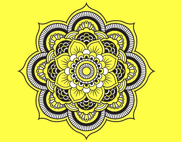 Coloriage Mandala fleur oriental colorié par mosaique