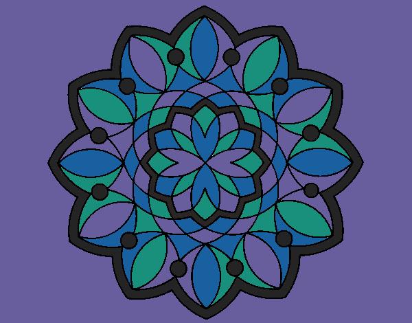 Coloriage Mandala 20 colorié par mosaique