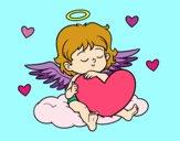 Coloriage Cupidon avec le coeur colorié par Zanne