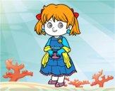 Fille avec robe élégante