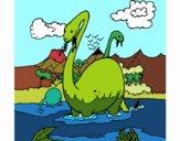 Apatosaures dans l'eau