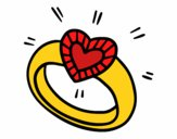 Anneau de diamant avec le coeur