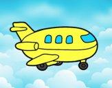 Coloriage Avion en bois colorié par raphael
