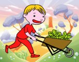 Coloriage Enfant avec charrette colorié par raphael