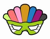 Coloriage Masque avec plumes colorié par raphael