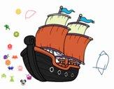Coloriage Bateau voilier colorié par raphael