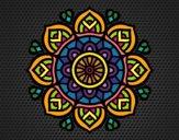 Coloriage Mandala pour la concentration mental colorié par Rebeca