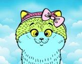 Une petite chatte avec ruban