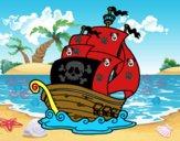 Coloriage Bateau de pirates colorié par Romain2008