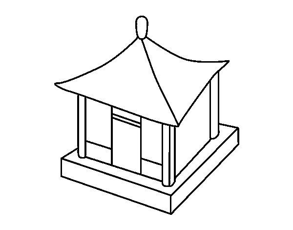 Coloriage de Maison chinoise pour Colorier - Coloritou.com